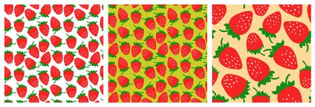 Strawberry seamless pattern set. Fashion clothing design. Red berry. Food print for dress, skirt, linens or curtain. Hand drawn vector sketch background collection