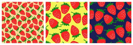 Strawberry seamless pattern set. Fashion clothing design. Food print for dress, skirt, linens or curtain. Hand drawn vector sketch background collection