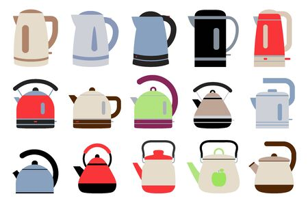 Electric and gas kettles. Flat style teapots. Cookware collection. Metal and plastic samples. Color illustration set. Vector icons. Mockup