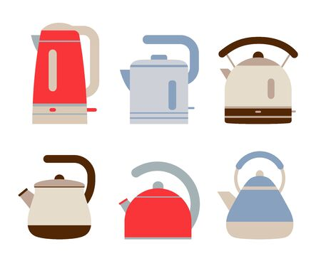 Kettles set. Flat style teapots. Cookware collection. Metal and plastic samples. Electric and gas appliance. Color illustration. Vector icons. Mockup