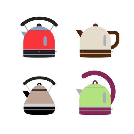 Electric kettles. Flat style teapots. Cookware collection. Metal and plastic samples. Color illustration set. Vector icons. Mockup