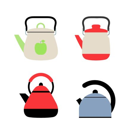 Gas kettles. Flat style teapots. Cookware collection. Metal and plastic samples. Color illustration set. Vector icons. Mockup