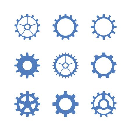 Gear set. Vector flat icons. Engineering, production, settings and repairs