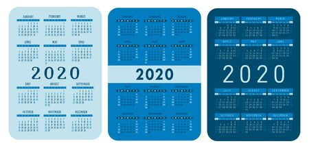 2020 year. Pocket calendar set. Vector design collection. Blue color English calender. Basic grid template for print. Week starts on Sunday