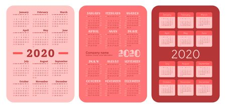 2020 year. Pocket calendar set. Vector design collection. Red color English calender. Basic grid template for print. Week starts on Sunday