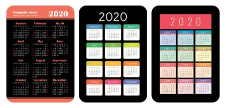 2020 year. Pocket calendar set. Basic grid template for print. Vector design collection. Color English calender. Week starts on Sunday