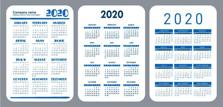 2020 year. Annual pocket calendar set. Vector design collection. Blue color English calender. Basic grid template for print. Week starts on Sunday Illusztráció