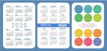 Colorful English calender. 2020 year. Pocket calendar set. Vector design collection. Basic grid template for print. Week starts on Sunday Illusztráció