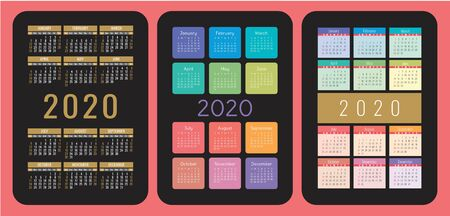 Pocket calendar set. 2020 year. Vector design collection. Color English calender. Basic grid template for print. Week starts on Sunday