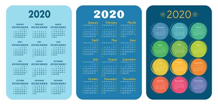2020 new year. Pocket calendar set. Vector design collection. Color English calender. Basic grid template for print. Week starts on Sunday