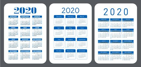 2020 year. Simple pocket calendar set. Vector design collection. Color English calender. Basic grid template for print. Week starts on Sunday