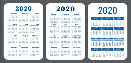 2020 year. Pocket calendar set. Vector design collection. Color English calender. Basic grid template for  typographic printing. Week starts on Sunday Illusztráció