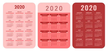 Calendar grid. 2020 year. Pocket calender set. Vector design collection. English basic template for print. Week starts on Sunday