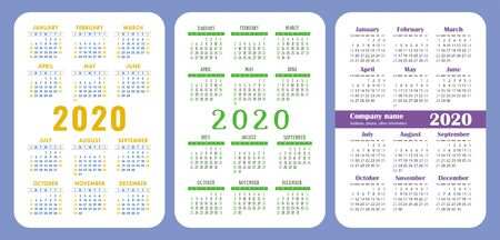 Calendar 2020 year set. Vector design collection. Color English calender. Basic grid template for print. Week starts on Sunday