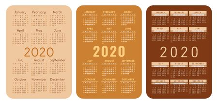 2020 year. Pocket calendar set. Vector design collection. Beige and brown English calender. Basic grid template for print. Week starts on Sunday