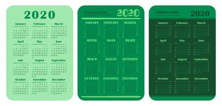 2020 year. Pocket calendar set. Vector design collection. Green color English calender. Basic grid template for print. Week starts on Sunday