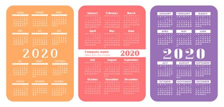 2020 year. Pocket calendar set. Color English calender. Basic grid template for print. Vector design collection. Week starts on Sunday