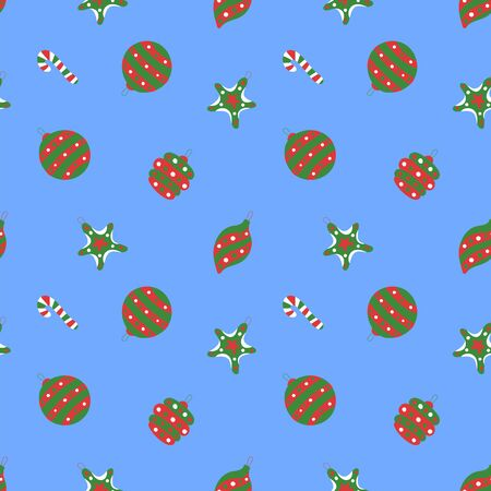 Christmas pattern. Winter holiday wallpaper. Seamless texture for the New Year. Christmas decorations on the tree. Walking stick, bell, star and ball