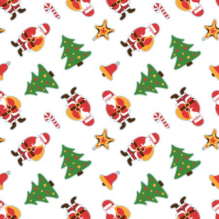 Christmas pattern. Santa Claus with a bag of gifts. Christmas cartoon character. Winter holiday wallpaper. Seamless texture for the New Year Иллюстрация
