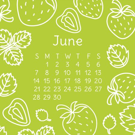 June calendar 2020. Vector English wall calender template. Fruits, berries. Strawberry. Hand drawn design. Doodle sketch. Sunday