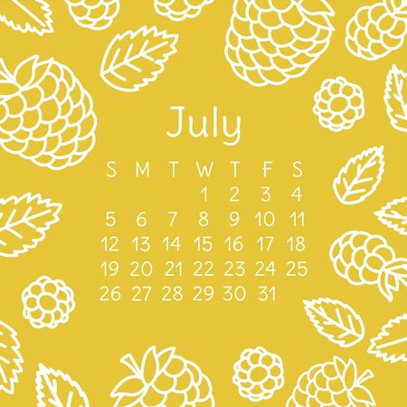 July calendar 2020. Vector English wall calender template. Fruits, berries. Raspberry. Hand drawn design. Doodle sketch. Sunday