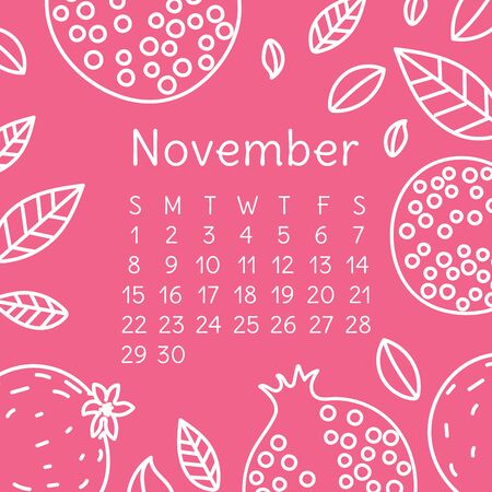 Calendar November 2020. Vector English wall calender template. Fruits, berries. Garnet or pomegranate. Hand drawn design. Doodle sketch. Sunday