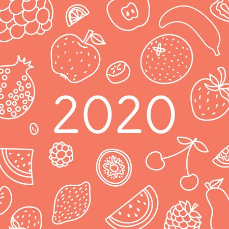 2020. Vector English wall calender cover template. Fruits, berries. Lemon, kiwi, banana, pear, cherry, strawberry, raspberry, watermelon, grapes, apple, pomegranate and mandarin. Hand drawn design. Doodle sketch. Sunday Иллюстрация