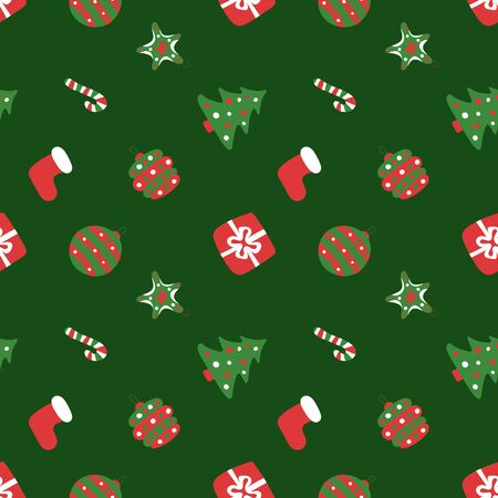 Christmas green pattern. Winter holiday wallpaper. Seamless texture for the New Year. Santas hat, tree, bag, gift, stick, bell and balls