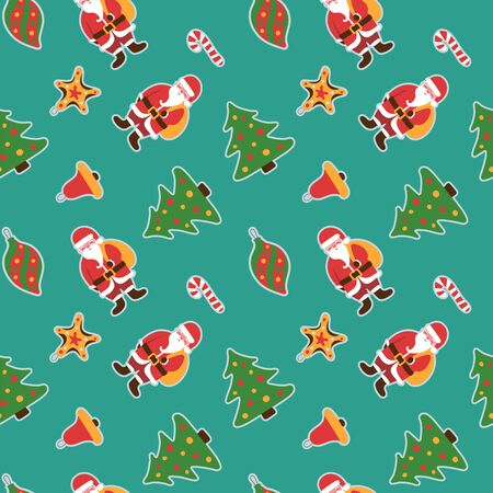 Christmas pattern. Winter holiday wallpaper. Seamless texture for the New Year. Santa Claus with a bag of gifts. Christmas decorations on the tree. Stick, bell and balls Иллюстрация