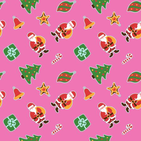 Christmas pattern. Winter holiday wallpaper. Seamless texture for the New Year. Santa Claus with a bag of gifts. Christmas decorations on the tree. Sticks and bells