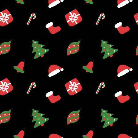 Christmas seamless pattern. Winter holiday wallpaper. Dark texture for the New Year. Santa Claus cap, tree, bag, gift, stick, bell and balls Иллюстрация