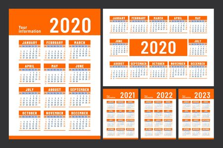 Calendar 2020, 2021, 2022 and 2023. English color vector set. Wall or pocket calender template. Big design collection. Week starts on Sunday