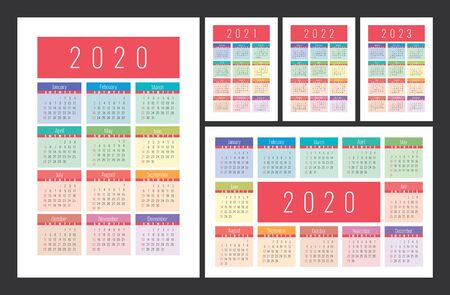 Calendar 2020, 2021, 2022 and 2023. English color vector set. Vertical and horizontal wall or pocket calender template. Colorful big design collection. New year. Week starts on Sunday