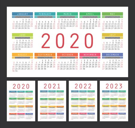 Calendar 2020, 2021, 2022 and 2023. English color vector set. Wall or pocket calender template. Colorful big design collection. New year. Week starts on Sunday