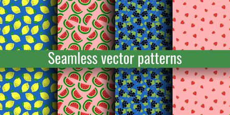 Fruit seamless pattern set. Lemon, watermelon, blackcurrant and strawberry. Tasty berries. Fashion print. Design elements for textiles or clothes. Hand drawn doodle cute wallpaper. Organic background