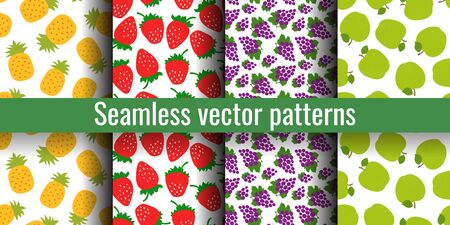 Fruit seamless pattern set. Pineapple, strawberries, grapes and apple. Fashion print. Design elements for textiles or clothes. Hand drawn doodle cute wallpaper. Natural background Иллюстрация