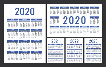 Calendar 2020, 2021, 2022 and 2023. English color vector set. Vertical and horizontal wall or pocket calender template. Design collection. New year. Week starts on Sunday