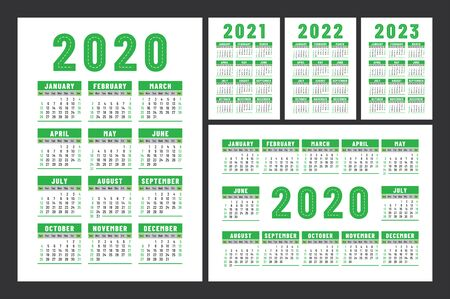 Calendar 2020, 2021, 2022 and 2023. English color vector set. Wall or pocket calender template. Design collection. New year. Week starts on Sunday