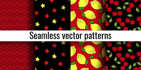 Red and black seamless pattern set. Wave, star, lemon, cherry. Fashion print. Design elements for textiles or clothes. Hand drawn doodle cute wallpaper. Abstract background Foto de archivo - 130729683