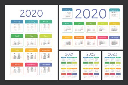 Calendar 2020, 2021, 2022 and 2023. English color vector set. Kids wall or pocket calender template. Colorful big design collection. New year. Week starts on Sunday