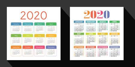 Calendar 2020 year set. Vector design template. English square pocket calender. Week starts on Sunday