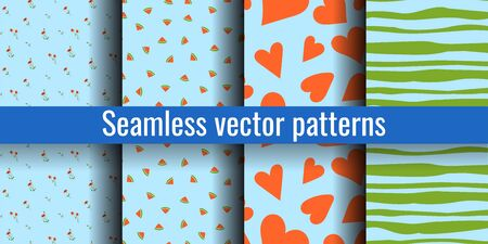 Seamless pattern set. Trendy blue print collection. Poppy, watermelon, heart, stripes. Design elements for textiles or clothes. Hand drawn doodle cute wallpaper