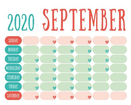 September 2020 diary. Calendar. Cute trend design. New year planner. English calender. Green and red color vector template. Notebook for notes. Week starts on Sunday. Planning. Hearts