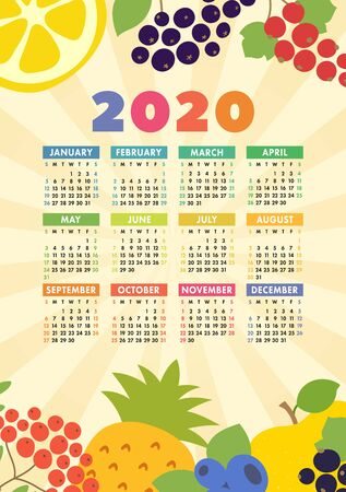 Calendar 2020. Wall poster. Organic healthy food. Color fruits and berries sketch menu. Fresh rowan, apple, lemon, pineapple, red currants, blueberry and chokeberry. Colorful design template. Hand drawn vector