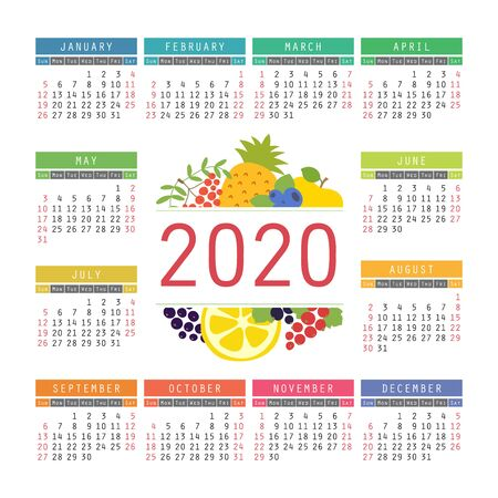 Calendar 2020. Organic healthy food. Color fruits and berries sketch menu. Fresh rowan, apple, lemon, pineapple, red currants, blueberry and black chokeberry. Colorful design template. Hand drawn vector Illustration