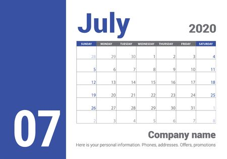 July 2020 calendar. English planner. Ð¡olor vector template. Week starts on Sunday. Business planning. Clean minimal table. Simple design
