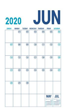 June 2020 calendar. Blue color planner. English calender template. Color vector grid. Office business planning. Creative design Çizim