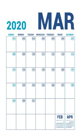 March 2020 calendar. Blue color planner. English calender template. Color vector grid. Office business planning. Creative design