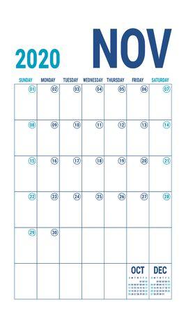 November 2020 calendar. Blue color planner. English calender template. Color vector grid. Office business planning. Creative design