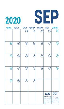 September 2020 calendar. Blue color planner. English calender template. Color vector grid. Office business planning. Creative design